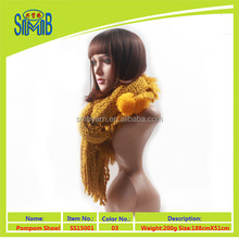 made in China Jiangsu tassels and balls of acrylic yellow crochet scarf shawl wholesale