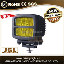 60w Yellow color LED work light,4x4 car accessory working light heavy duty machine,boatTruck,CE, RoHS, IP68 approval