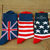 Wholesale Sports Sock Stocklot Men Flag Woven Socks 100% Cotton