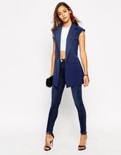 Women sleeveless Utility Jacket with belt