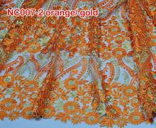 Nc007-2 alto arancione ultima qualità francese pizzo nuovo tessuto di pizzo netto abbigliamento per il vestito