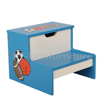 HT-FB005 30x30x(H)25cm E1 MDF Easy Assembly Football Design Kids Wooden Step Stool, High Quality Child Step Stool For Wholesale