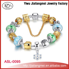 Europe Christmas ornaments, diy glass beaded bracelet, big hole boutique alloy bracelets