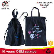 Customized promotional glossy polyester nylon tote handled bag with drawstring for gift