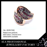 Pave wedding ring set silver rose gold plating engagement couple ring with colorful zircon wholesalers jewelry -SLS