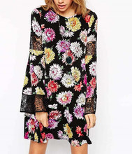 wholesale clothing Safari Print With Crochet Insert Sleeves Cold Shoulder Dress