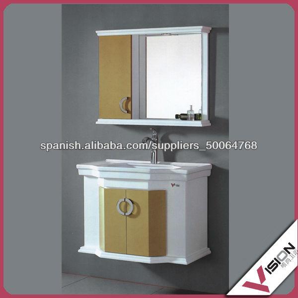 Mueble de ba o de pvc moderno gabinete del espejo en la for Gabinetes para banos modernos
