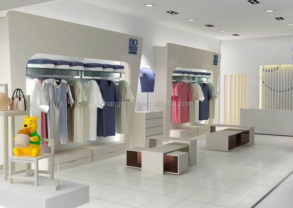 Hot Shop Interior Design Clothing Rack Shelves For