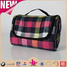 Red blue yellow colors plaid pattern picnic blanket waterproof/polar fleece picnic blanket with handle strap