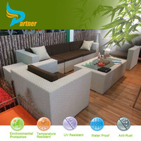 Modern PE Rattan Outdoor Sofa For Pool , Fushion Garden Table And Inflatable Legless Chairs With Sofa