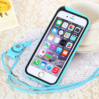 High Quality Stitching Colors Unique Phone TPU Bumper Frame + Exquisite lanyard Rope For iPhone 6 4.7inch