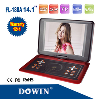 manufacture wholesale OEM nice 14.1 Inch TFT LCD Screen Digital Multimedia Portable DVD With Game Function,270 Degree Rotation