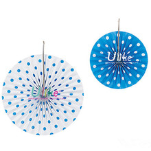 party decoration fan flowers handmade craft Polka Dot Hanging Fans double national ceiling fan