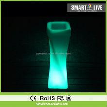 2014 New style design LED color changing rechargeable solar plastic planter flower pot