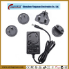 wall-mounted 24w interchangeable safety compliant EU, AU, US,UK AC to DC power adapter supply