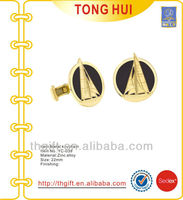 Custom sailboat/junk/yacht enamel cufflinks for gold plated