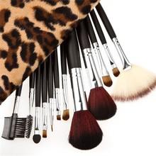 New 2015 Fashion Beauty 12pcs Leopard Bag Makeup Brushes Set Cosmetics Make Up Brush