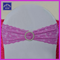 Beatiful Lilac Lace Embroidered Chair Cover Sash Band With Round Buckle