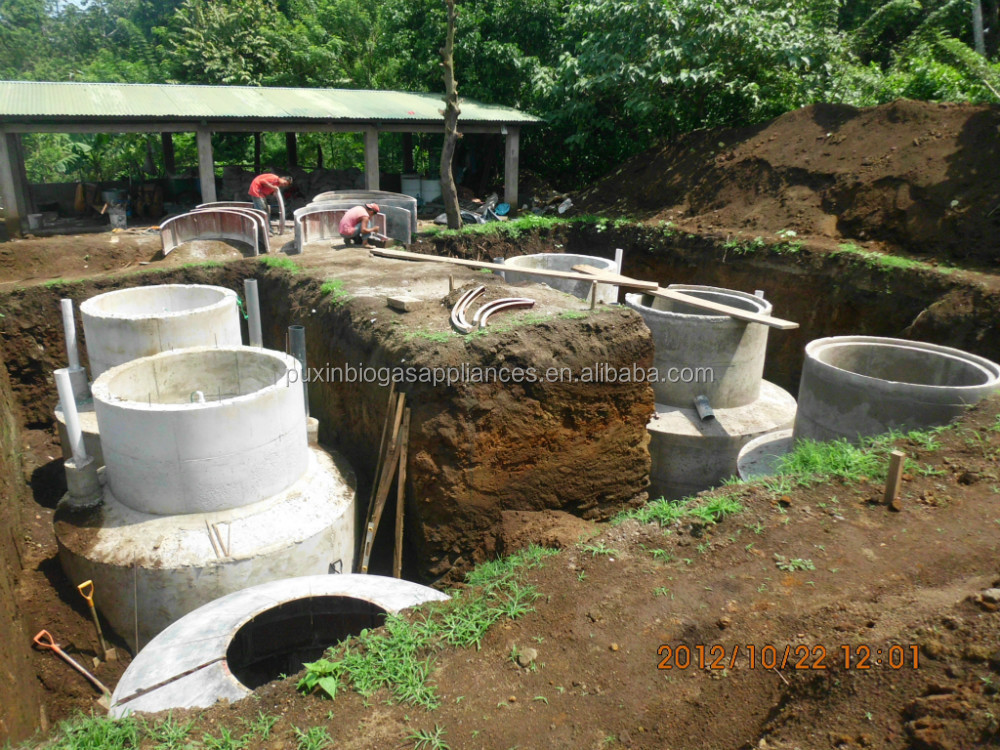 China Puxin Durable Hydraulic Pressure Family Size Biogas Plant Design For 10 500kg D Kitchen