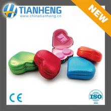 contact-lens case heart shaped mini case mirror colorful small glasses case 2016 new design