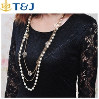 s>>>> Korean Women Autumn Wholesale Jewelry Long Pearl Multilayer Sweater Chain Roses Decorated Boutique Necklace/