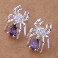 Animal Spider Shape Earrings Stud Jewelry With Crystal