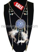 42quot Silver Chain Neck Set Dream Catcher Style w Blue Pend. SALE ITEM $ 2.50 per set