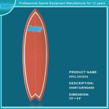 Model# HPS1SH5056 2015 new style popular bamboo/wooden PU/eps foam epoxy/fiberglass short surfboard wholesale in China