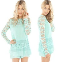 Green or White Color Cotton Adults Lace Blouse & Shirts as Casual Dresses