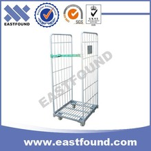 Heavy Duty Wire Electro Galvanized Roller Trolley,Market Steel Cage Cart