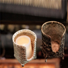 Factory outlet hand knitting beautiful candle holder made of bamboo