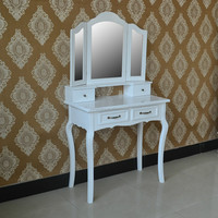 Hot on amazon high quality KD assembled black wood antique dressing table with mirrors
