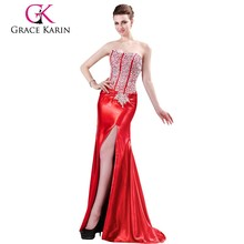 Real Sample Fashionable Mermaid Beaded Open Back Formal Evening Dress CL4421-2