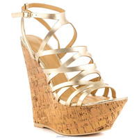JUSITY 2015 Most popular golden fashion ladies wedge sandals