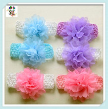Baby Girls Flower Hit Colors Party Cheap Wide Elastic Headbands HPC-1593