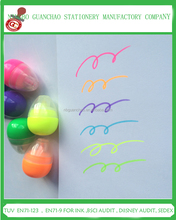 promotional multi color egg shaped mini highlighter pen for kids