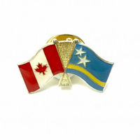Promotional safety push pins metal logo custom making Curacao cross double flag lapel pins