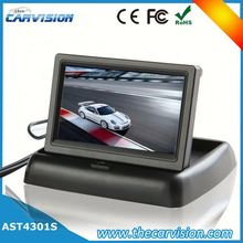 For car reverse 4.3 inch foldable tft color lcd car reverse rearview security monitor