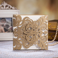 Unique Design Luxury Gold Laser Cut Invitations for Wedding