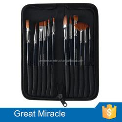 Private label acrylic paint 12 piece paint brush set canvas bag for paint brushes art