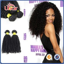 Top quality natural color kinky curl Chinese hair human hair weft curly hair extension wholesale