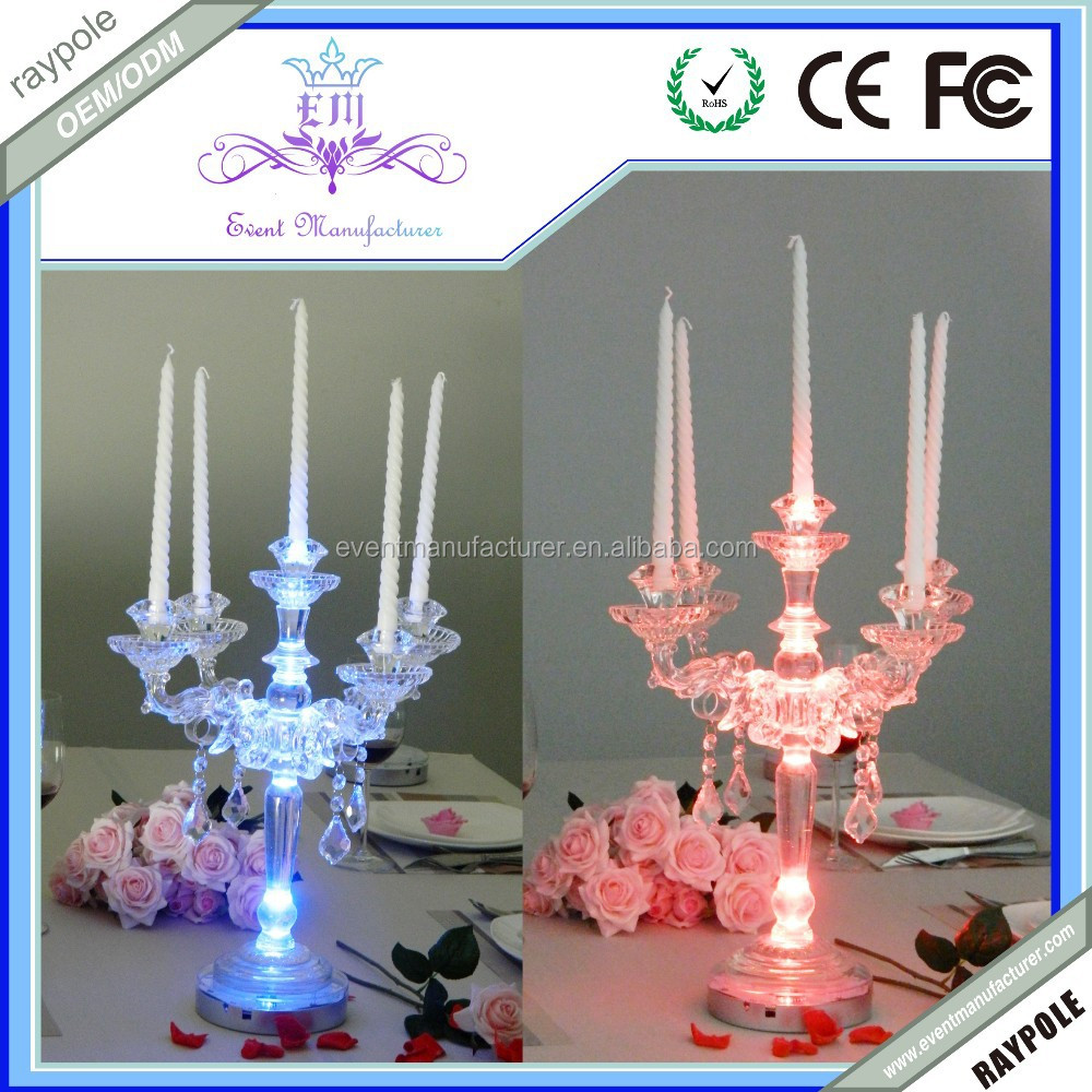 Multi color led tall wedding candelabra centerpiece for for Deco table multicolore