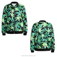 New cheap price 3D digital print leaf zipper up wholesale bulk hoodies