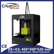 DE+03Plus Triple Extruders Ultra Wide Ultra High Metal Frame 3d printer Build Size 400*300*520 mm CreatBot 2KG Filaments free