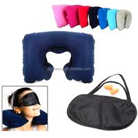 2015 New 3 in1 Set Inflatable Air Travel Neck Pillow U Shape Travesseiros Almofada De Pescoco + Eye Mask + Ear Plug
