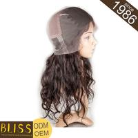 Can Be Dyed 100% Natural Human Hair Indian Virgin Bang Full Lace Wig