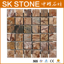 """Cafe Forest 2"""" x 2"""" Square Pattern Tumbled Marble Mosaic Sheet, Brown, Lot of 10 peel and stick tile backsplash stainless steel"""