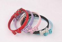 Luxury diamante buckle and bow tie soft PU dog collar