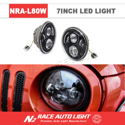 """New Products! DOT Approval 7 Inch round Led Lighting 7"""" 80W Headlight with DRL for Jeep with low high beam led headlamp"""