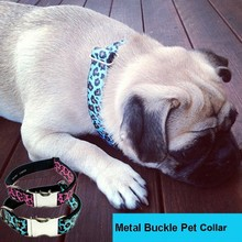 Embroidered Personalized Zinc-alloy Metal Buckle Leopard Ribbon Dog Collar